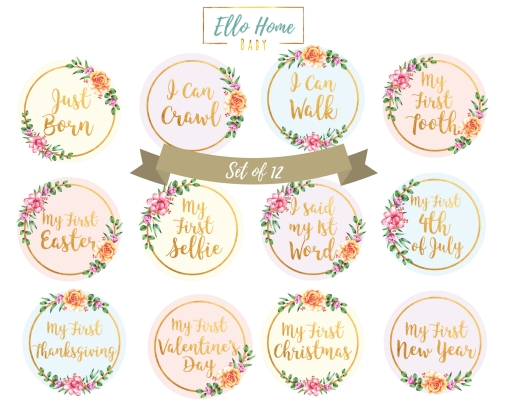 ELLO HOME Baby 12 Monthly Milestone Stickers Holiday Month to month scrap book and photo album