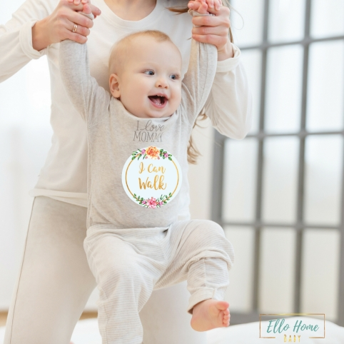 Baby with Floral Sticker (text) B07CLGB95Y