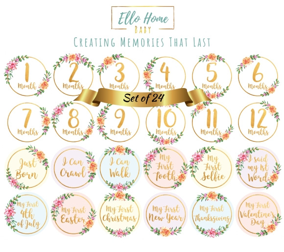 Gold floral milestone stickers, monthly stickers, month cards